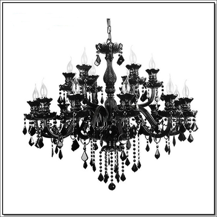 Star Hotel Led Luminaria Large Fashion Chandelier Antique Black Crystal 18 Arm Res De Cristal Home In Chandeliers From Lights
