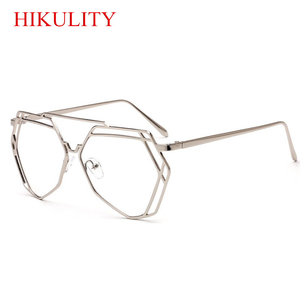 77a16a64fc2 Gold Clear Glasses Women Hexagon Hollow Sexy Clear Glasses Frame Eyewear  Sunglasses Ladies Oversize Polygon Eyeglasses Frame-in Sunglasses from  Apparel ...