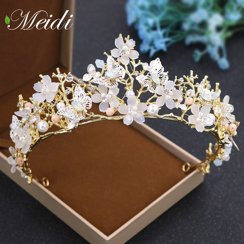 цены MEIDI The Tiara Bride Alloy Handmade Hair Jewelry Golden Crown Wedding Headwear Headband Crystal Queen Hair Accessories SP424