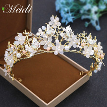 MEIDI The Tiara Bride Crown Alloy Handmade Hair Jewelry Golden Crown Wedding Headwear Headband Crystal Queen Hair Accessories