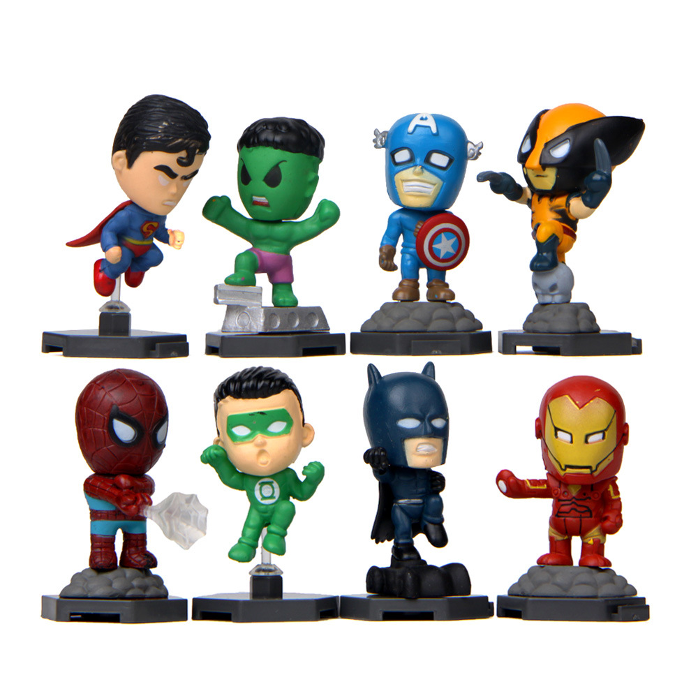 5 6cm 8pcs/Set Marvel Toys The Avengers Figure Set Q Version Iron Man Hulk Captain America Spiderman Ultron Model Doll Toy Model