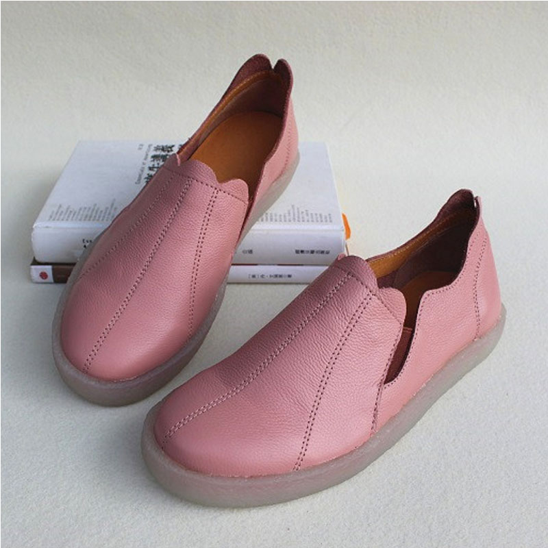 Women s Genuine Leather Shoes Slip on Sneakers Sweet Women s Flat Shoes Female Spring Autumn