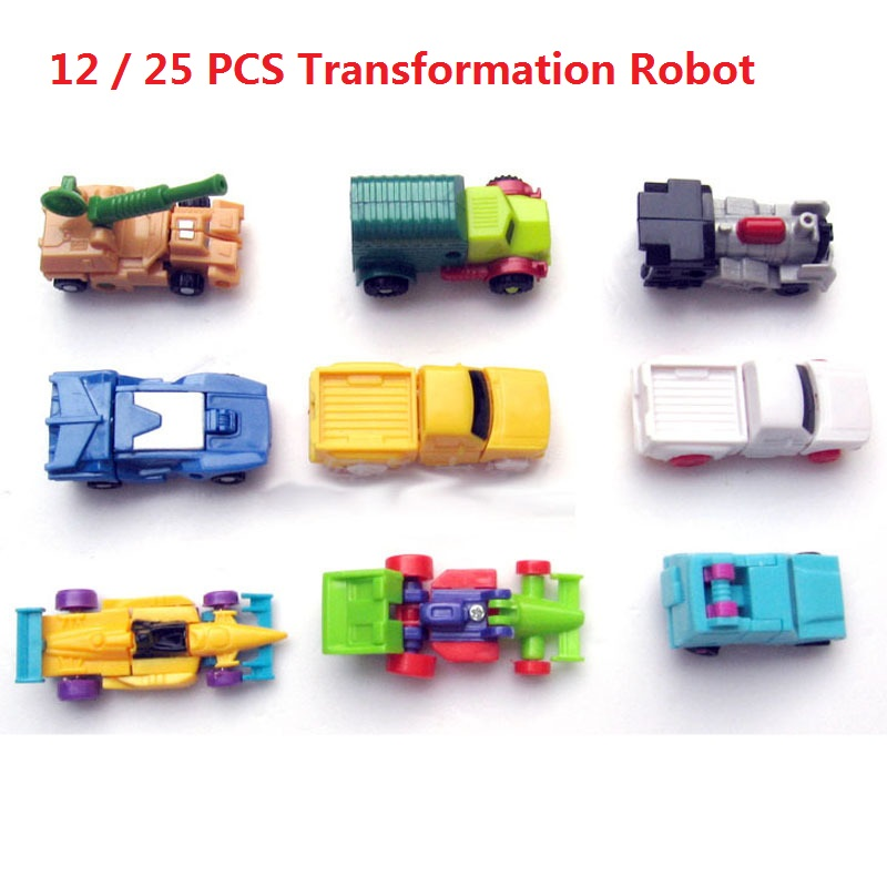 25 PCS / SET Mini Transformation Robot Anime Figures Toy For Children Gift, Cute Car and Airplane Toys les enfants pj racing mission cruiser car dessin maskmm toy anime pj car big truck display jouet children bithday gift toys