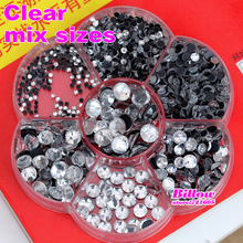 High Quality Mixed Sizes With Box !  Clear Crystal DMC Hot Fix  Rhinestones 3000pcs/Lot  SS6 To SS40 HotFix Stones B0022