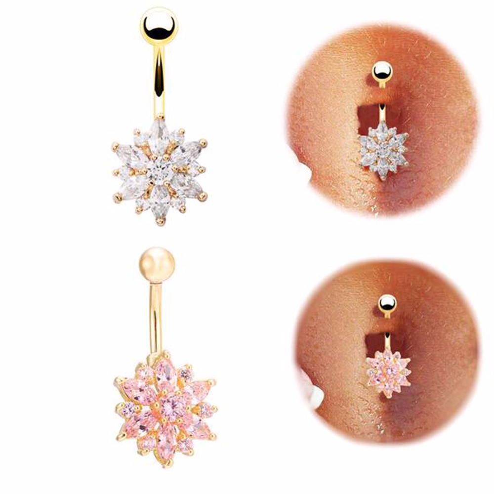 HTB1BLhXMFXXXXbTXXXXq6xXFXXXt Crystal Rhinestone Press Button Flower Pendant Navel Ring - 2 Colors