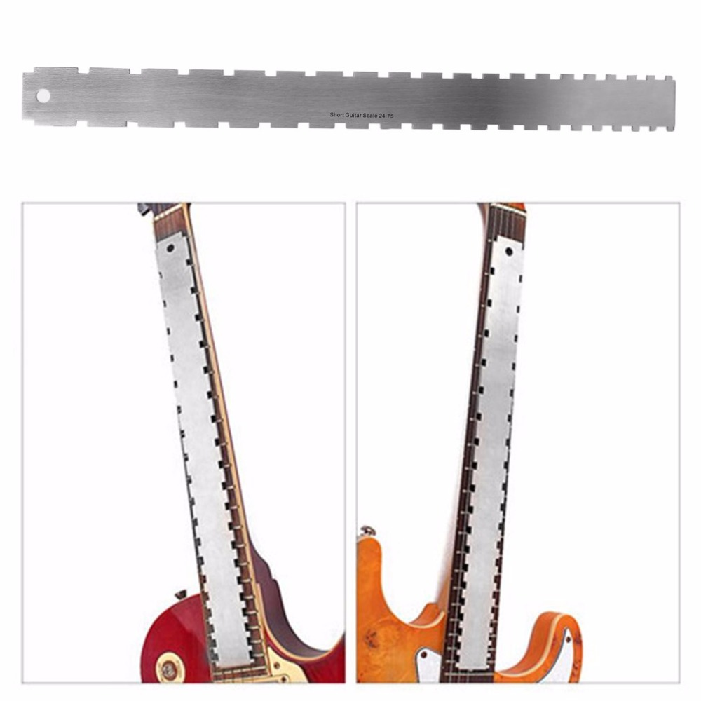Silver Stainless Steel Guitar Neck Slotted Tool Line Luthiers Straight to Most Electric Guitars for Fretboard and Frets stainless steel cuticle removal shovel tool silver