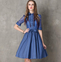Summer Denim Dress Clothing Women Hollow Out Jeans Dress Embroidery Elegant Cowboy Casual Sundresses Vestidos