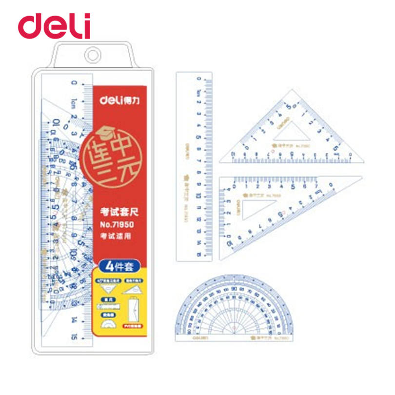 Deli Triangle Ruler+ Straight Rulers 4 Pieces A Set Office Material School Stationery For Students Drawing School Supplies
