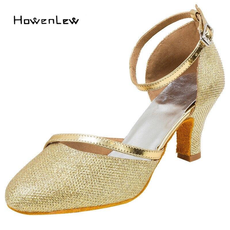 Howenlew Modern Salsa Dance Shoes Women Customized Heels Tango Latin Ballroom  Shoes Girls Suede Leather b8bf3a5d5190