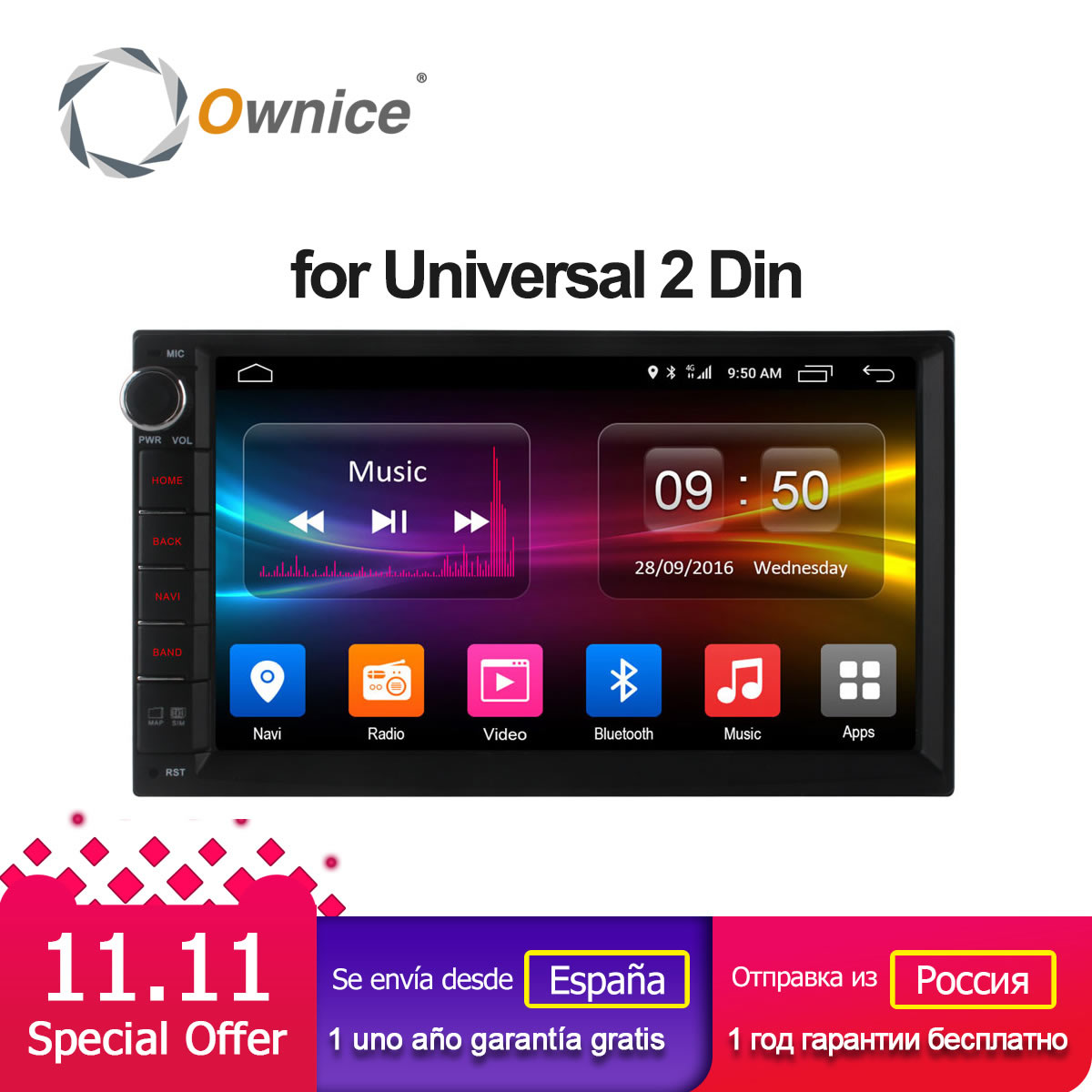 Ownice C500 Android 6.0 Octa Núcleo 2 din Universal Para Nissan GPS Navi BT Radio Stereo Audio Player (Sem DVD) build-in 4g Moudule