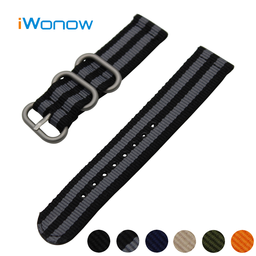 Nylon Watch Band 22mm for Ticwatch 1 46mm Stainless Steel Pin Buckle Strap Wrist Belt Bracelet Black Blue Orange + Spring Bar stylish 8 led blue light digit stainless steel bracelet wrist watch black 1 cr2016