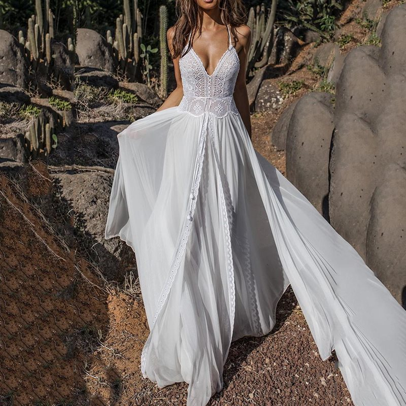 Sexy Robe de soirée femmes été profonde col en V dos nu dentelle Split Patchwork robes deux pièces Boho Robe blanche en mousseline de soie Maxi robes