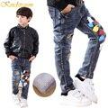 Kindstraum invierno niños jeans de moda 4 estilos niños de algodón pantalones de mezclilla niño pantalones calientes de lana gruesa térmica, MC239