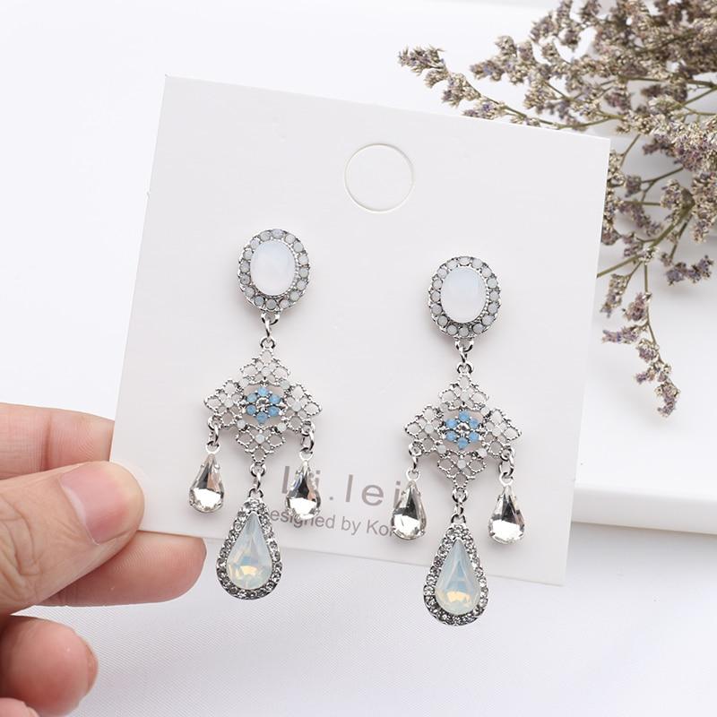 MENGJIQIAO New Baroque Style Opal Stone Water Drop Crystal Tassel Earrings For Women Vintage Statement Flower Long Pendientes 1