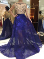 MYEDRESSHOUSE Couture Boat Neck Sheer Saia À Noite Vestido de Renda Com Cristal Red Carpet Dress 17MYED032