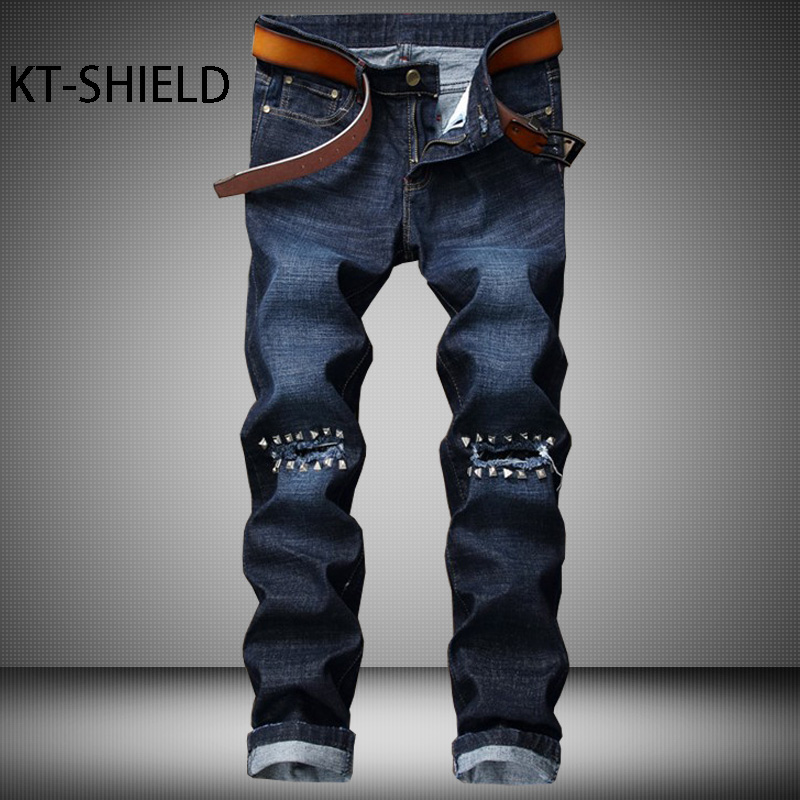 Ripped men jeans pants brand fashion design biker Denim Trousers Straight Rivets Punk Casual harem full length Homme Pantalones 2017 fashion patch jeans men slim straight denim jeans ripped trousers new famous brand biker jeans logo mens zipper jeans 604