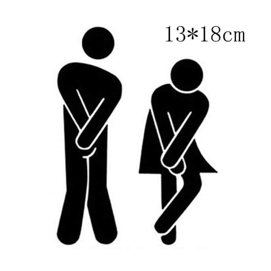 สติ๊กเกอร์ติดผนังDecorationRemovableน่ารักชายหญิงห้องน้ำห้องน้ำPorte Toiletteห้องสุขาสติกเกอร์ครอบครัวDIY Decor 5.22
