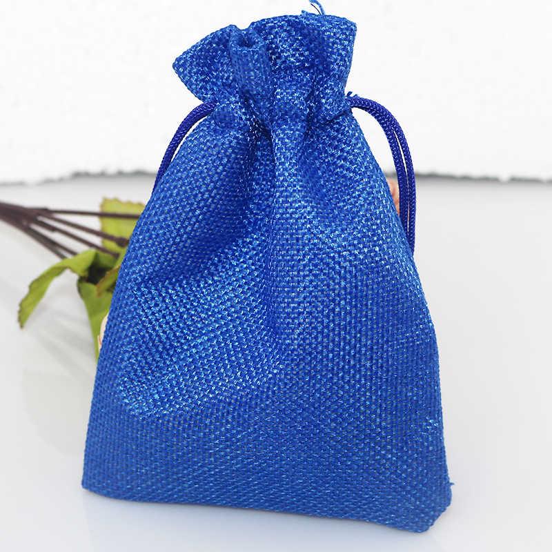 Bán buôn 100 cái Royal Blue Đay Túi 7x9 cm Nhỏ Dây Kéo Gift Bag Ủng Hộ Đám Cưới Quyến Rũ Đồ Trang Sức Bao Bì Túi vải lanh Túi