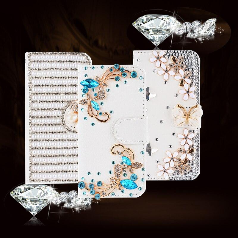3d de cristal de diamante de lujo del tirón de la pu leather case para samsung g