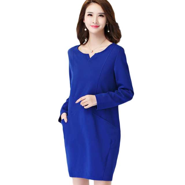 New Fashion Autumn Plus Size Dress Office Work Ladies Long Sleeve ...