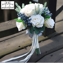 Perfectlifeoh Bouquet de mariage artificiel, Bouquet de mariée pour mariée, bande fleurie