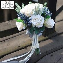 Perfectlifeoh باقة الزفاف الاصطناعية باقة الزفاف للعرائس باقة أزهار فتاة الفرقة