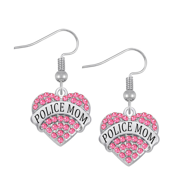 20 Pairs A Lot Latest New Fashion Rhodium Plating Crystal Hearts Names Charms Police