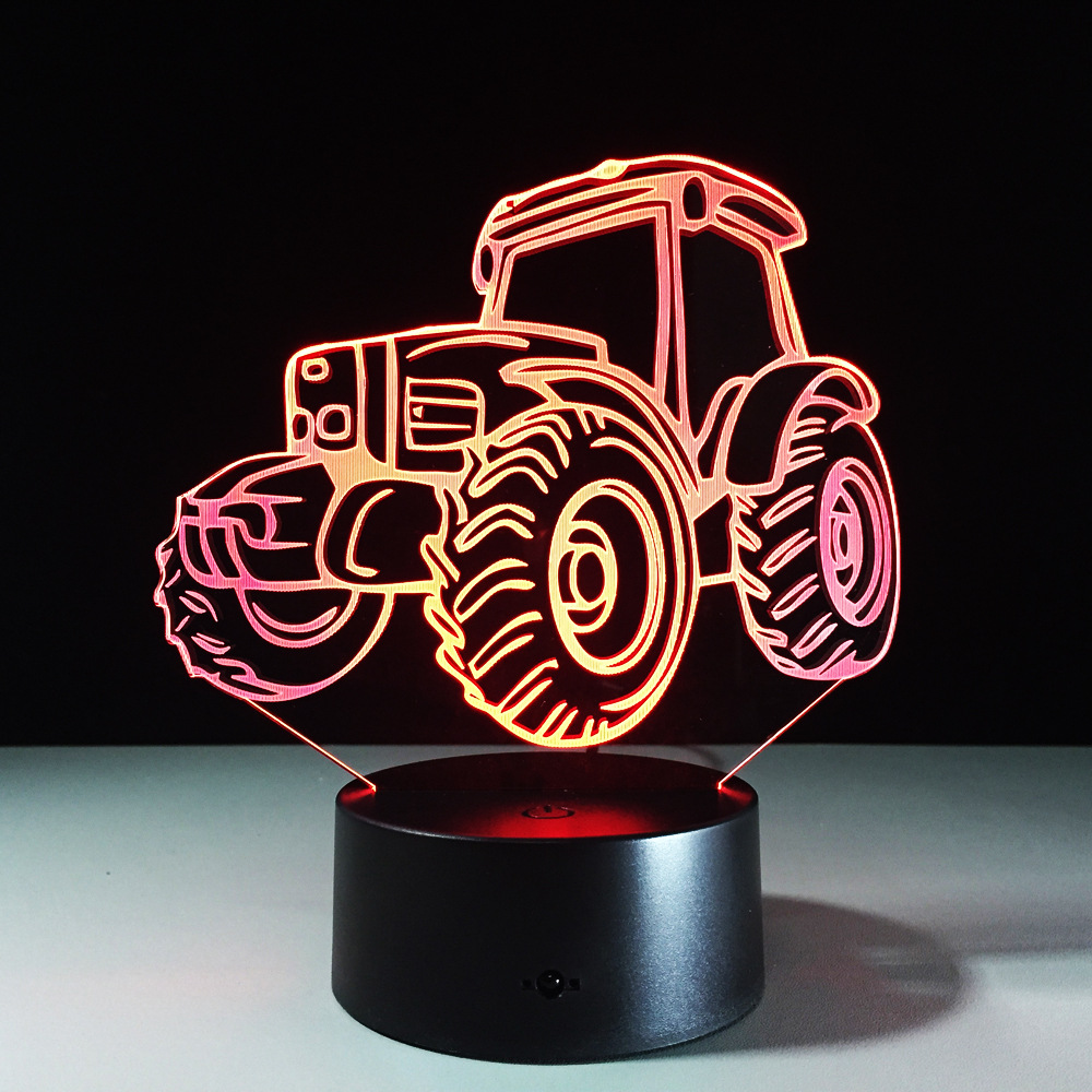 Tractor Motor Car 3D Deco Light Automobile Shape USB Charge Touch Switch Lamp Colorful Kids Night Light For Farm Deco Free Ship