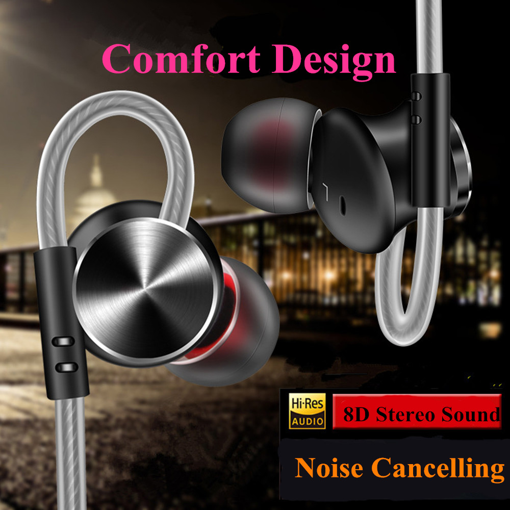 In Ear Sports Headphones, HIFI Earbuds with Mic and Remote,Wired Earhooks Earphones for Running Fitness and Gym Exercise
