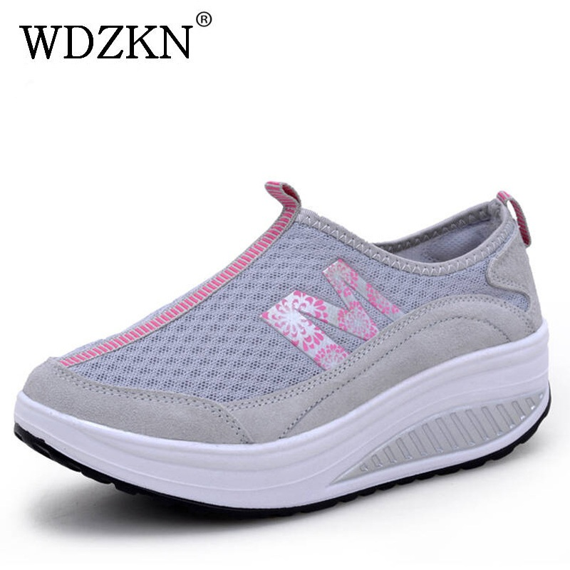 WDZKN Women Casual Shoes Lightweight Slip On Wedge Platform Sneakers Women Breathable Air Mesh Summer Swing Shoes Tenis Feminino