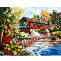 River Country House Painting By Number Drawing DIY Paintings By Numbers Kits Paint For Home Wall