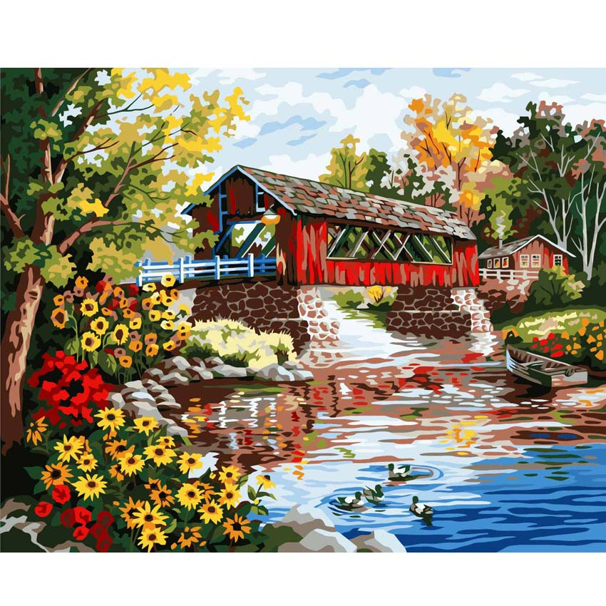 River Country House Painting By Number Drawing DIY Paintings By Numbers Kits Paint For Home Wall Art Picture Frameless Paint ...