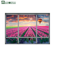 Maruoxuan 2017 New 3D Fancy Flower Hot Air Balloon Fake Window Sticker Bedroom Living Room Backdrop Decor PVC Wall Stickers