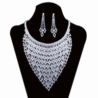 2016 New Wedding Jewellery Set Austrian Crystal Bridal Jewelry Sets For Women Long Tassel Statement Necklace