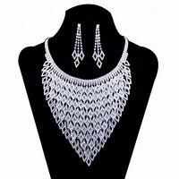 2016 New Wedding Jewellery Set Austrian Crystal Bridal Jewelry Sets For Women Long Tassel Statement Necklace/Earrings Set #N139