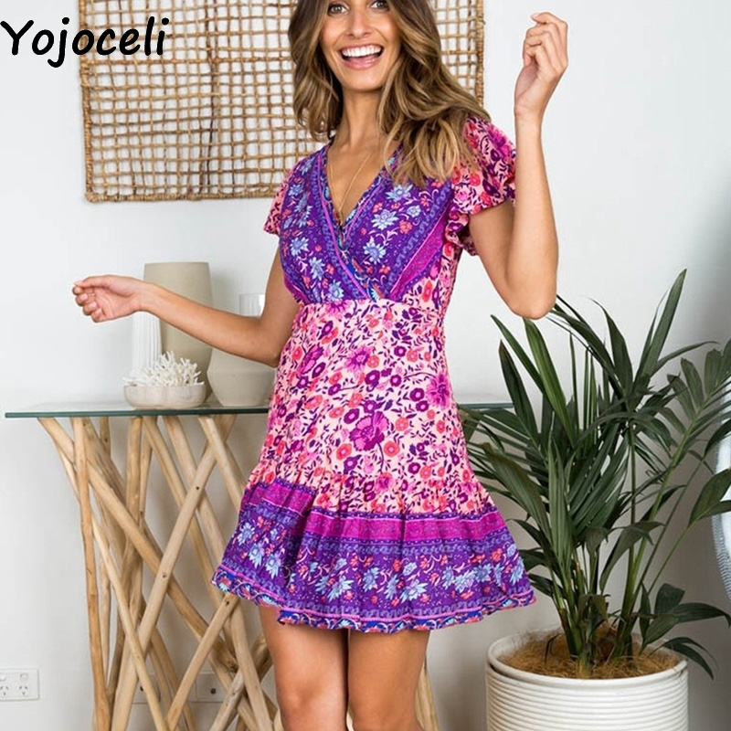 Cuerly Sexy floral print ruffle short dress women Summer wrap elegant party dress female vestidos Casual daily mini dresses L5 in Dresses from Women 39 s Clothing
