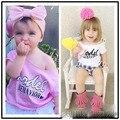 Ins * mais novo 2016 do bebê da menina do algodão letra impressa Camisetas kids summer fashion top pano de moda de alta qualidade 1-5Y frete grátis