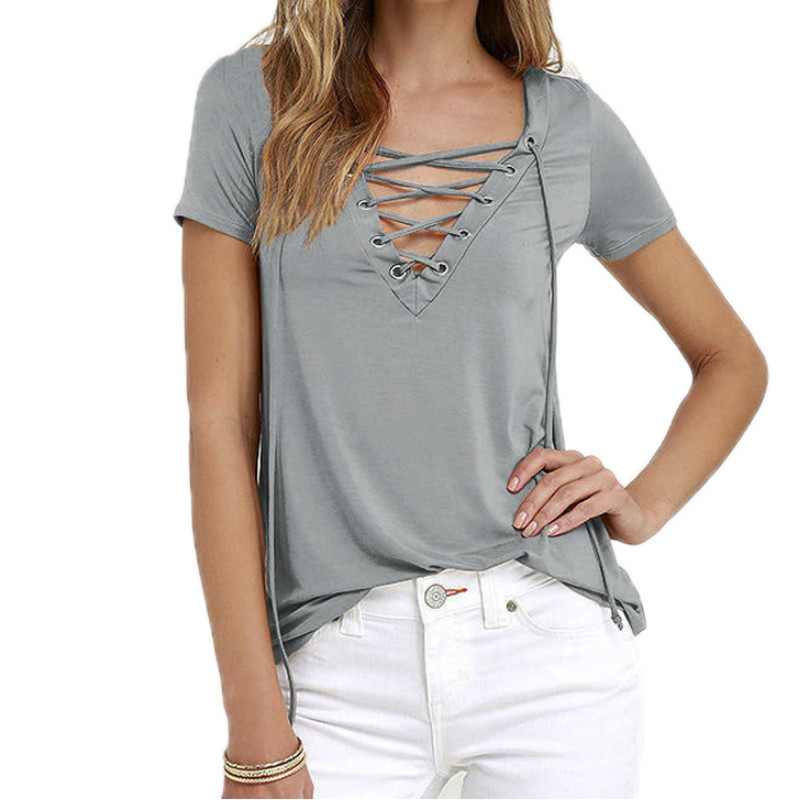 Lace Up T Shirt Women Sexy V Neck Hollow Out Top Casual Basis