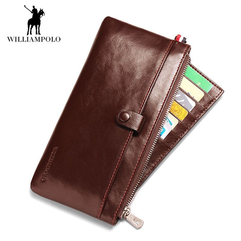 Brand Men Wallets Genuine Leather Purse Men's Clutch Bag Cowhide Leather Male Long Wallets Coin Pocket Card Holder Carteira 2018