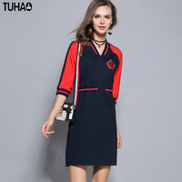 TUHAO Elegant Embroidery Women S Dress 2017 Autumn Baseball Casual Femme Dresses Red Black Patchwork Dresses