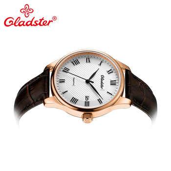 Gladster Luxury Japan MIYOTA2315 Fashion Leather Men Wristwatch Simple Golden Male Quartz Watch Sapphire Crystal Male Clock Gift
