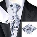 C-1159 Metálicos de Moda Floral Corbata Hanky Gemelos Set 100% Corbata de Seda Para Los Hombres de Negocios Formal Del Banquete de Boda