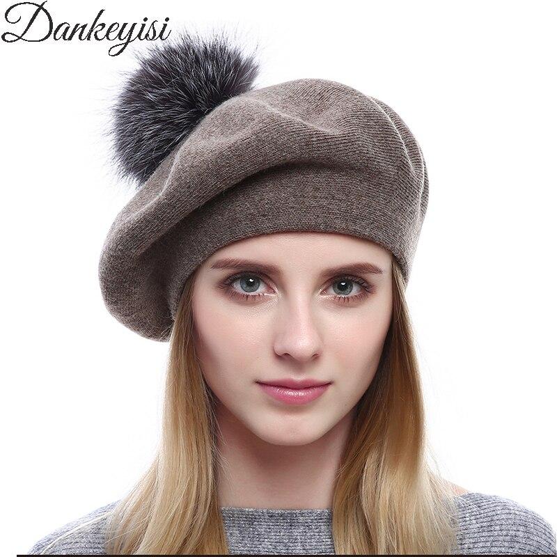 DANKEYISI Women Berets Hat Gorro Winter Fox Fur Pom Poms Hats Female Winter Knitted Wool Beret