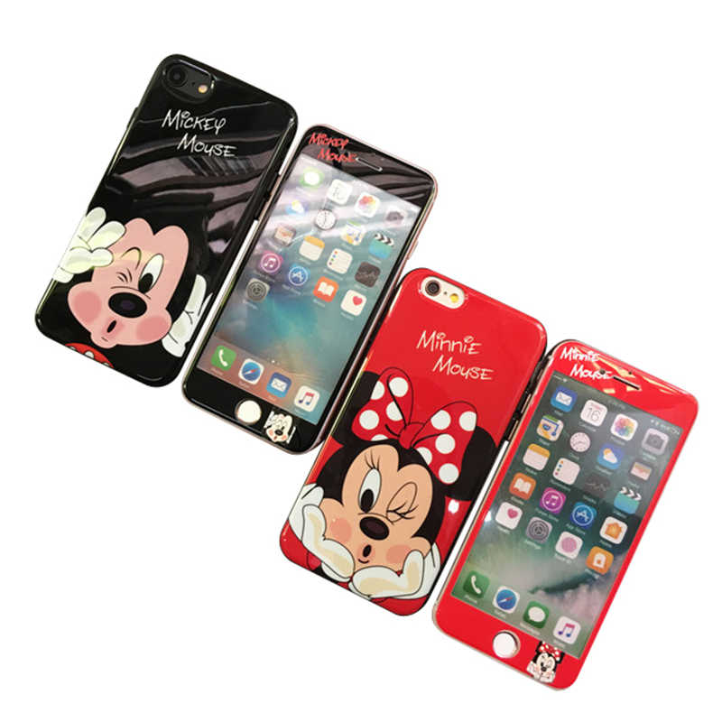 875abffa7f8 ... Japan Korea cute Mickey Minnie Stitch screen tempered glass  protection+lanyard cover case for iphone ...