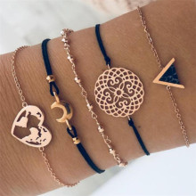 TTLIFE Bohemian Black Beads Chain Bracelets Bangles For Women Fashion Heart Compass Gold Color Sets Jewelry Gift