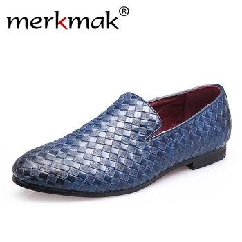 Merkmak 2019 zapatos de hombre marca trenza cuero conducción Casual Oxfords zapatos hombres mocasines zapatos italianos para hombres planos