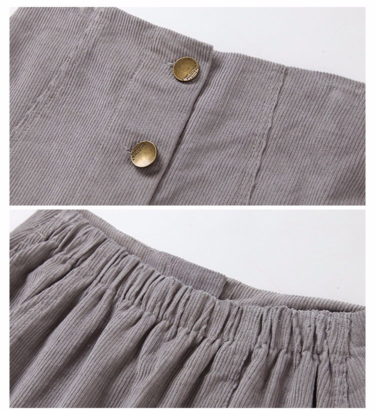 Saia 2016 Autumn vintage fashion corduroy high waist sexy mini skirt winter short a line skirts black gray casual skirts A802 j