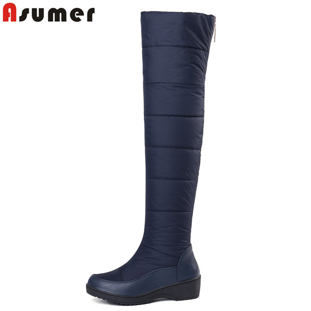 ASUMER 2018 New keep Warm Snow Boots For Women Platform Shoes Thigh High Boots Zip Thick Fur Over The Knee Boots EUR Size 35-44