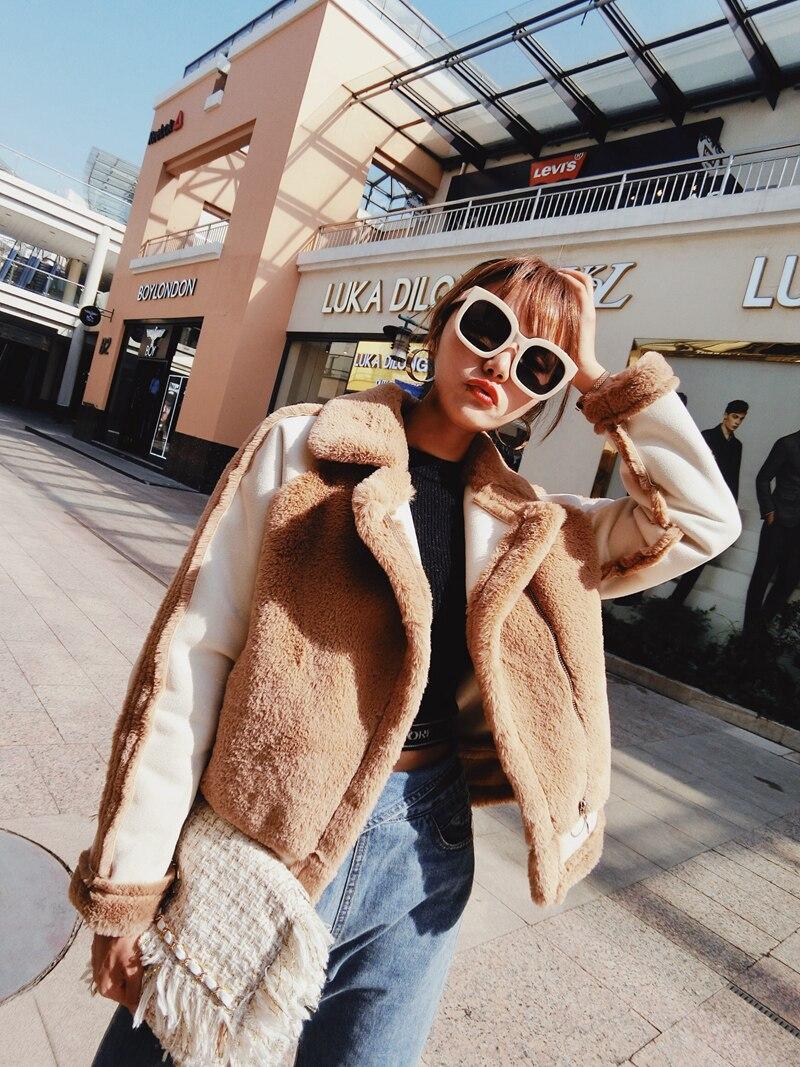 Cheveux Lapin En De Manteau Femelle Imitation Mode Daim Court Automne Couture Fourrure Et D'hiver KJcT1u3lF