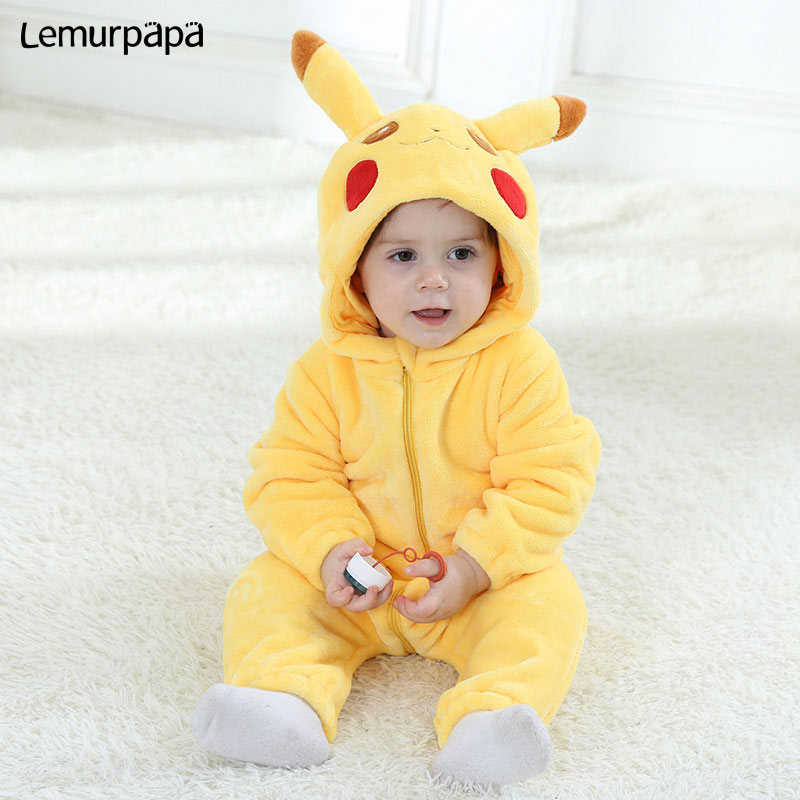 Anime Pokemon Pikachu Onesie Baby Onesie Newborn Boy Girl Romper Winter Warm Clothes Infant Cute Pajama Zipper Kid Party Costume